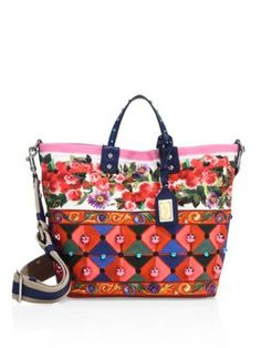 DOLCE & GABBANA Studded Printed Tote. #dolcegabbana #bags #canvas #tote #leather #metallic #shoulder bags #hand bags #cotton #