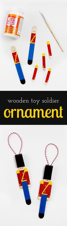 Crafters big and small will delight in making a Wooden Toy Soldier Ornament with craft sticks, paint, and one extra unique craft material. via @HTTP://www.pinterest.com/fireflymudpie/