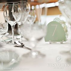 Wedding Table number floral laser by www.pistachiodesigns.co.za Wedding Table Numbers, Pistachio, Alcoholic Drinks, Reception, Stationery, Tableware, Glass, Floral, Design