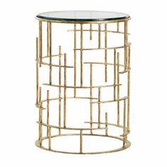 Limited Production Design: Modern Glass Iron Art Side Table * Gold Leaf * H: 20 Dia: 15 inches