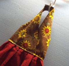Hanging Dish Towel Sunflowers Fabric by AlwaysALittleBehind, $5.75