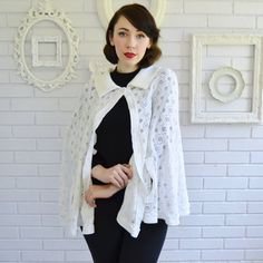 Vintage Cream Acrylic Knit Cape or Shawl Size XS to Medium