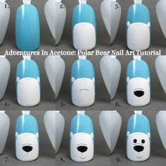 Adventures In Acetone: Tutorial Tuesday: Polar Bear Nail Art!- Adventures In Acetone: Tutorial Dienstag: Eisbär Nail Art! Adventures In Acetone: Tutorial Tuesday: Polar Bear Nail Art! Xmas Nail Art, Christmas Nail Art Designs, Xmas Nails, Winter Nail Designs, Winter Nail Art, Winter Nails, Diy Christmas Nails Easy, Gel Nail Art Designs, Prom Nails