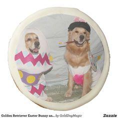 Golden Retriever Easter Bunny and Egg Sugar Cookie
