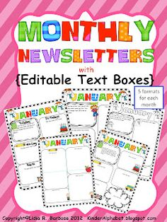 Monthly Newsletter for Students! Show: Upcoming birthdays, a little game or crossword, upcoming days off, upcoming activities, extra credit opportunities, other reminders