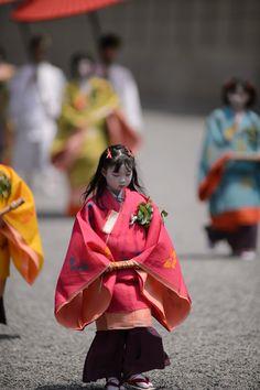 Kyoto's Aoi Matsuri Festival. Girls dressed in junihitoe