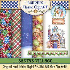 Arte Digital de la aldea de Navidad por lauriefurnelldesigns