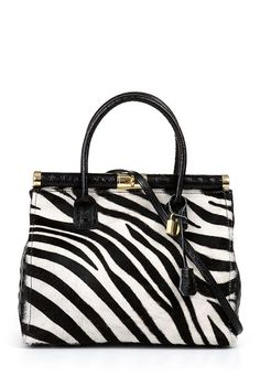 Latina Handbag - White/Black Zebra
