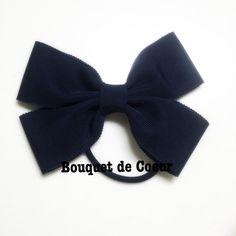 #122ネイビー♡大きめオフィスリボンヘアゴム Handmade ribbon hair accessory