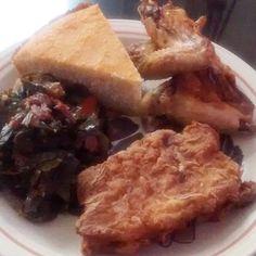 Good Ole Boy Southern Dinner Nite :Savory Greens w/ Turnups, Buttermilk Fried Chops, Honey baked Chicken & Sour Cream Skillet Cornbread.
