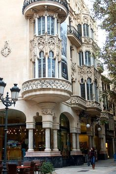 Art-Nouveau architecture in Palma de Mallorca, Spain; love this kind of architecture:) Architecture Design, Architecture Classique, Architecture Antique, Architecture Art Nouveau, Beautiful Architecture, Beautiful Buildings, Facade Design, Paris Architecture, French Architecture