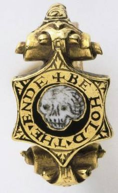 """Gold mourning ring...white enamel...ca. 1550 -1600...incribed  """"BE HOLD THE ENDE""""."""