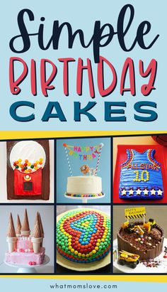 Easy Birthday Cake Ideas for Kids   These simple cake decorating ideas are great for beginners and include cakes for boys and girls. We show you everything from how to decorate a cake with candy and cookies, to how to make a fun construction cake, one with rainbows or craft a cute DIY cake topper. You're sure to find a birthday cake that's easy to make and that your child will love. Diy Cake Topper, Cake Toppers, Easy Cake Decorating, Decorating Ideas, Party Sweets, Crafts For Boys, Love Cake, Pretty Cakes, Kid Friendly Meals