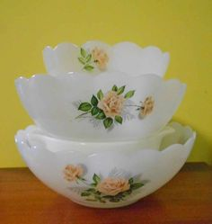 Vintage Arcopal Milk Glass Vintage Rose, scalloped bowls 3 in set - perfect cond