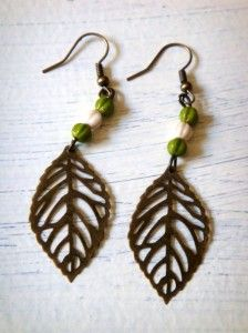 Autumn leaf earrings from Confectionary Trinket on #Etsy