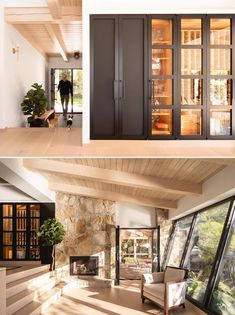 Highlighted by a black door and glass walls, is a dedicated wine storage area. Stone Fireplace Surround, Black Fireplace, Black Exterior, Modern Exterior, Modern Cabin Interior, Small Sitting Rooms, Wood Stair Treads, Log Homes Exterior, Modern Log Cabins