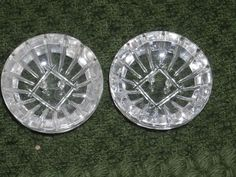 Pair 1930s Depression Glass Carved Clear Buttons 7 8"