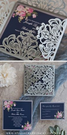 This floral laser cut invitation is perfect for for fall winter wedding ideasnavy blue and silver weddings! for fall winter wedding ideas