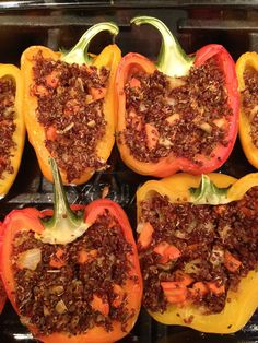 Vegetarian Spicy Red Quinoa Stuffed Peppers