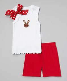 This White & Red Bunny Ribbon Tank & Shorts - Infant, Toddler & Girls by Beary Basics is perfect! #zulilyfinds