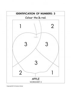 Number recognition worksheets - color by number worksheets - 3