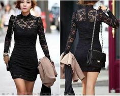 Black Lace Mesh Fitted Long Sleeve Short Dress