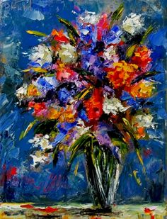 Big Bouquet of Flowers in Vase painting art by Debra Hurd, painting by artist Debra Hurd