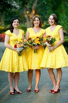 yellow wedding details, yellow wedding inspiration, yellow wedding color, yellow bridesmaids dresses
