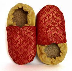 Red and Gold Jacquard Baby Shoes booties unisex by SkipsShoes