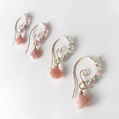 Special Pink Opal Earrings/ Wire Wrapped Pink Opal and Pastel Gemstones/ Dangle Jewelry/ Gold Tear Drop Bohemian Earrings/ Gemstone Earrings - Frauen lieben Schmuck :) Wire Wrapped Jewelry, Wire Jewelry, Gold Jewelry, Beaded Jewelry, Jewelery, Jewelry Accessories, Jewelry Design, Gold Bracelets, Jewelry Box