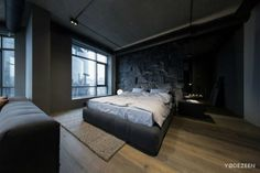 Dark Apartment in Kiev Maximizes Space With Reflective Surfaces