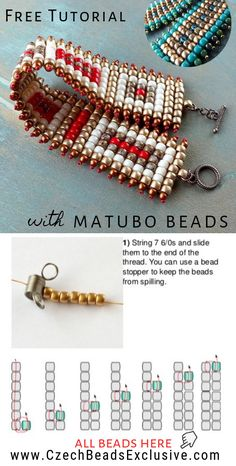 How to Make Square Stitch Beaded Bracelet with Matubo Seed Beads – Easy Tutorial Wie man ein quadratisches Perlenarmband mit Matubo-Rocailles macht – Einfaches Tutorial Seed Bead Tutorials, Seed Bead Patterns, Beading Patterns, Easy Beading Tutorials, Beading Ideas, Diy Shamballa Armband, Beaded Bracelets Tutorial, Beaded Bracelet Patterns, Beaded Bracelets