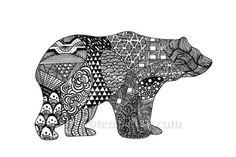 Bear art - zen doodle tangle - intricate drawing of grizzly bear silhouette modern art hand drawn illustration - PRINTABLE ART by TeenyTotems on Etsy https://www.etsy.com/listing/211912250/bear-art-zen-doodle-tangle-intricate