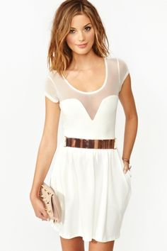 Little White Dress with AMAZING rose gold belt <3