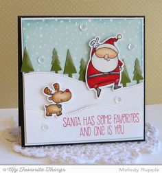 Jingle All the Way stamp set and Die-namics, Snowfall Background, Campy Tree Lines Die-namics, Stitched Snow Drifts Die-namics - Melody Rupple #mftstamps