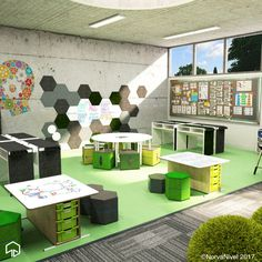 An innovative STEAM space created by NorvaNivel. Contact us to learn more about the spaces you can create in your school! Modern Classroom, Classroom Design, School Classroom, Classroom Decor, Learning Spaces, Learning Environments, Preschool Rooms, Library Inspiration, Innovation Lab