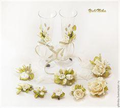 Купить Свадебный комплект. Ваниль - бежевый, ванильный, слоновая кость, розы, свадьба, свадебное украшение
