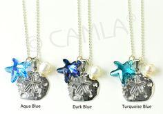 Bridesmaids Seaside Jewelry: Sand Dollar & Ocean Starfish Necklace by Camla