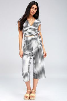b0d20e94b43 Jetset to Go Blue and White Striped Wrap Culotte Jumpsuit