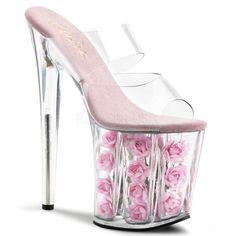 PLEASER FLAMINGO-802FL Clear-Baby Pink Flowers Platform Slides