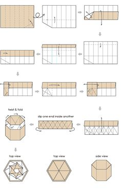 hexagon origami box - folding instructions for the base