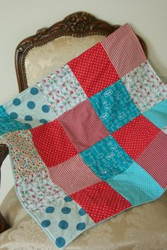 Baby Blanket in Red and Aqua  cotton squares and fleece by ooty, $43.00