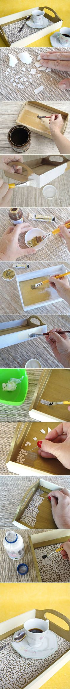 DIY Eggshell Mosaic Tray. A nice, detailed, craft idea for all you tweekers out there! Should take you all of about 10 minutes.