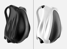 "futuristic backpack ""bag7"" for mobile lifestyle in black and white  