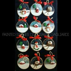 Thank you for looking at my product. These are my robin pebble art log slice decorations. They are created using Hello! Thank you for looking at my product. These are my robin pebble art log slice decorations. They are created using Wood Ornaments, Diy Christmas Ornaments, Christmas Projects, Holiday Crafts, Christmas Decorations, Ornament Crafts, Christmas Pebble Art, Christmas Rock, Christmas Makes