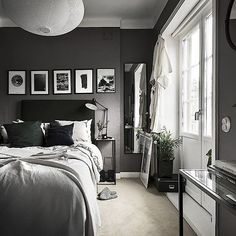 50 Men's Bedroom Ideas Masculine Interior Design I Dark Gray Bedroom, Small Master Bedroom, Modern Bedroom, Dark Bedrooms, Trendy Bedroom, Master Bedrooms, Bedrooms For Men, Masculine Master Bedroom, Charcoal Bedroom