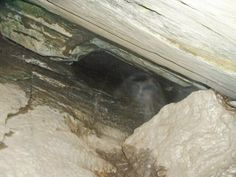 """""""I live in pittsfield massachusetts berkshire county. for several years i have been searching for captain william kidds cache. i took a photo at 12 at night. of a cave entrance in the complete darkness. first picture showed an orb the second showed this image. my camera stopped functioning after this photo and i needed to buy a new one. it appears to be a head or it appears to be a headless man."""""""