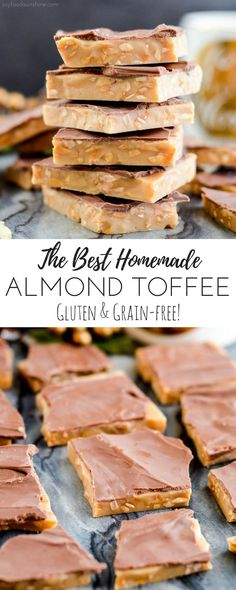 The Best Homemade Almond Toffee Recipe ever! Only 8 ingredients make this delicious holiday treat that is naturally gluten-free! Perfect to give as gifts to your neighbors and friends!