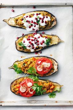 Healthy food: Stuffed eggplant with lentils and tahini yogurt.