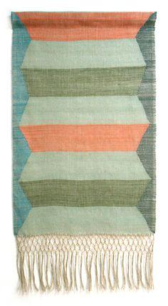 Mid-peach and mid-green -linen wall-hanging , peach & seafoam #textile #woven #fiber